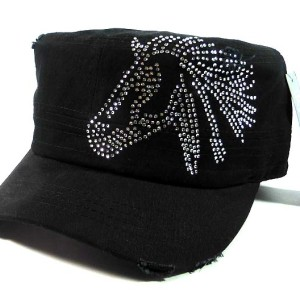 Bling Cowgirl Horse Cadet Hat - Black