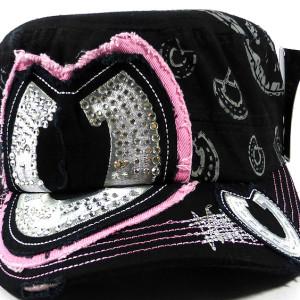 Bling Horseshoe Cadet Hat - Black and Pink