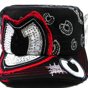Bling Horseshoe Cadet Hat - Black and Red