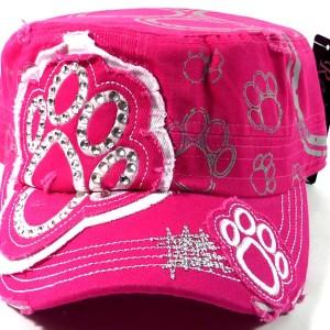Bling Paw Print Cadet Cap - Hot Pink