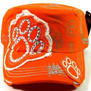 Bling Paw Print Cadet Hat - Orange