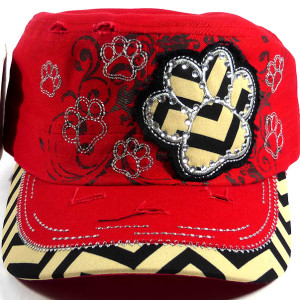 Bling Paw Print Cadet Hat  - Red
