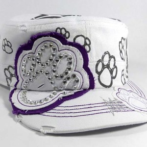 Bling Paw Print Cadet Hat - White and Purple