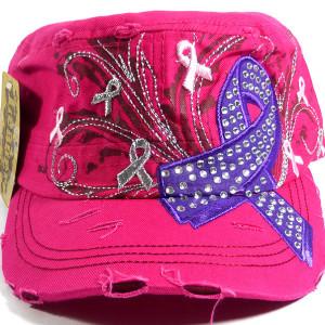 Purple Ribbon Bling Cadet Hat - Pink