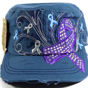 Purple Ribbon Bling Cadet Hats - Steel Blue