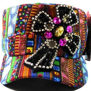 Rhinestone Cross AZTEC Cadet Hat - Black Crystals