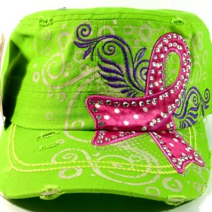 Rhinestone Pink Ribbon Vintage Cadet Hat - Lime Green
