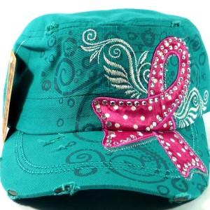 Rhinestone Pink Ribbon Vintage Cadet Hat - Turquoise Blue