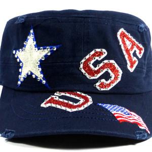 USA Rhinestone Women's Cadet Hat