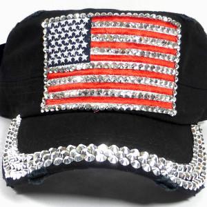 bulk bling cadet caps shiny rhinestone american flag black 01