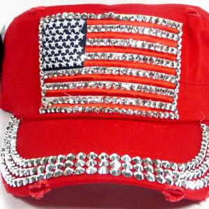 bulk bling cadet caps shiny rhinestone american flag red 01