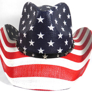 cowboy hats usa american star straw navy red stripes belt 01