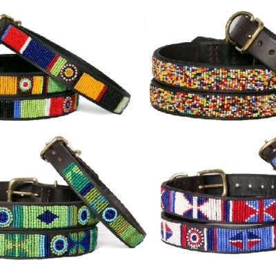 Beaded Leather Dog Collars