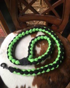 Braided Leash - Lime & Black