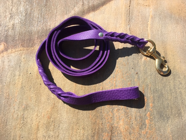 Braided Bullhide lead leather handmade leash 5 foot long